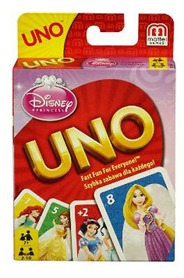 Disney Princess Uno Card Game From Mattel With 2 Bonus Cards Brand New B3280