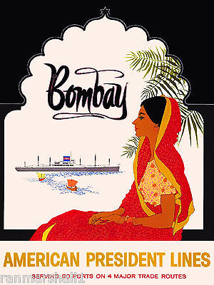 Bombay Southeast Asia Indian Asian Vintage India Travel Advertisement Poster Art
