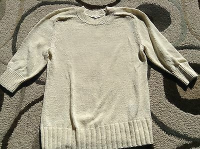 Gap Maternity L Large 12/14 Cream Crew Neck Sweater Tape Yarn New NWT 3/4 Sleeve