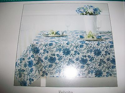 Tablecloth  By Waverly Size 60 X 120 Blue Onion Print  New In Pkg.