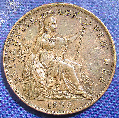 1825 ¼d George IV copper Farthing: raised leaf midribs, lovely high grade