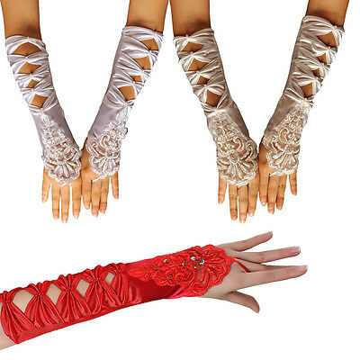 Fingerless Gloves Pearl Lace Gloves Spandex Silk Satin + Lace + Sequin Gloves