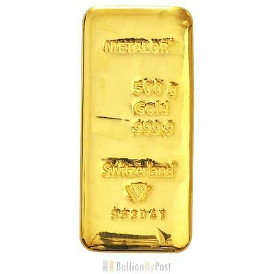Metalor 500 Gram Gold Bar
