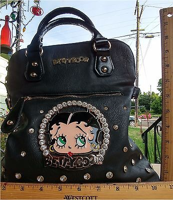Large Betty Boop Purse Leather With Rhinestones