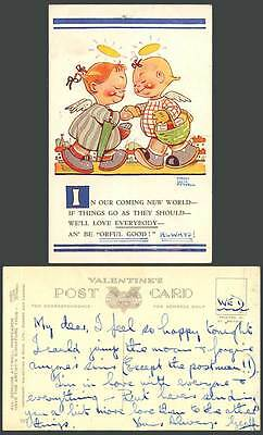 MABEL LUCIE ATTWELL Old Postcard Little Girls Angels In Our Coming New World 797