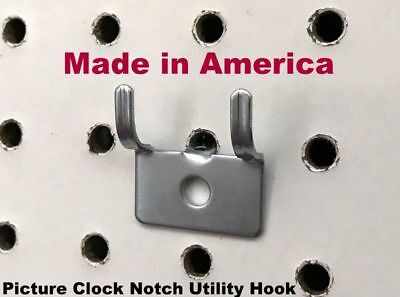 """(10 PACK) Picture Clock Notch Utility 'J' Peg Hook. For 1/8 to 1/4"""" Pegboard"""