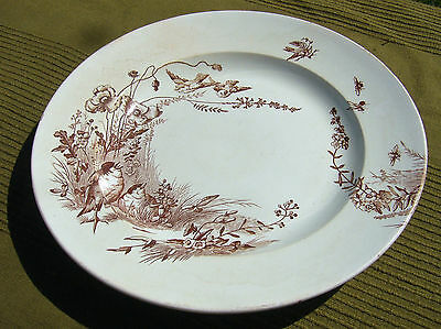 Antique Grand Plat Rond Jules Vieillard Decor Oiseau /service Dish Ceramic 32Cm