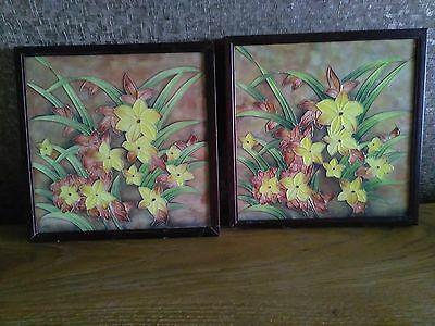 2 framed tiled immaculate condition unused old upton ware