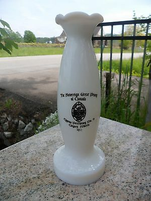Vintage 1952 Milk Glass Banff Springs Hotel Vase Sovereign Great Priory Calgary