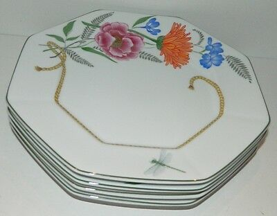 """Lynn Chase FLORES Yellow Rope - 4 Octagonal Dinner Plates - 10 1/4"""""""
