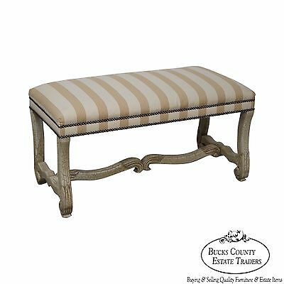 Custom Crackle Painted Louis XV Style Bench