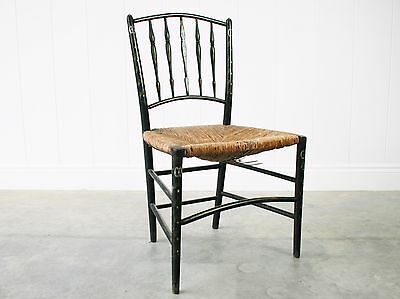 Antique Regency Painted Chair - Bedroom Dining Occasional Side Chair Rush Seat