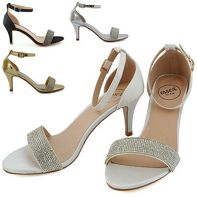 Womens Low Heel Sandals Stiletto Peep toe Ladies Diamante Ankle Strap Shoes