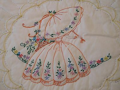 Vintage Southern Belle Crewel Embroidered QUILT Handmade Hand Stitched