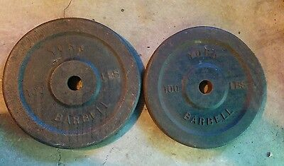 "Vintage York Barbell Olympic 100 lb Pounds Weight Plates Pair 2"" Lb lbs"