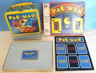 Vintage PAC-MAN Metal LUNCHBOX/ Aladdin(1980) & CARD BOARD GAME- Complete