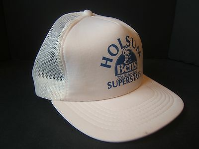 Holsum Bens Bread VTG White Hat The Bakers Best Superstars Snapback Trucker Cap