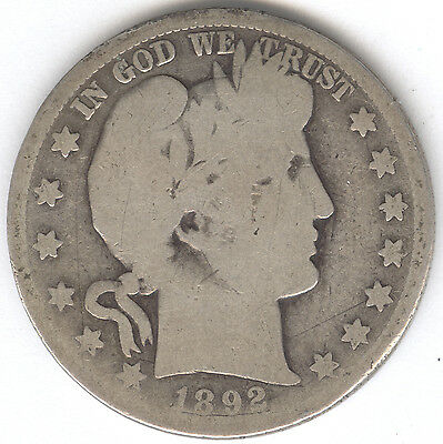 Genuine 1892-S Scarce Date Silver Barber Half Dollar with AG Details