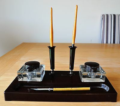 Bakelite ABEX Ink Well/Stand - Dual Wells - Dual Pen Holders - 1940s, English.