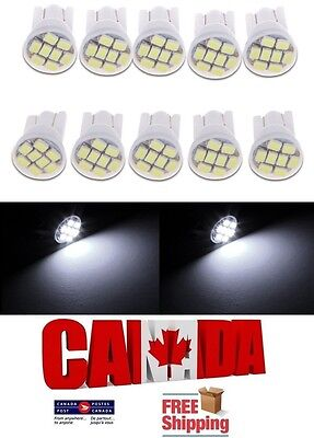 10x T10 194 168 1W 8SMD LED Side Lamp Car Dome Map Wedge Light Bulbs White 6000k
