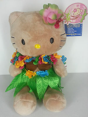 "Sunkissed Hello Kitty 18"" Plush Tropical Tan Build A Bear Hawaiian Hula NWT BABW"