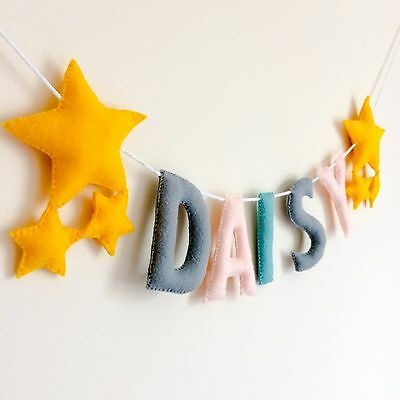 Star name banner | felt bunting | star nursery garland | star wall hanging lette