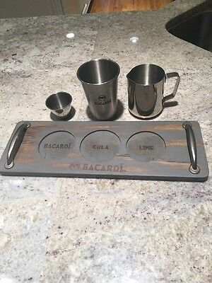 """BACARDI RUM Cola & Lime 15"""" Wood Serving Tray & 3 Piece Stainless Set"""