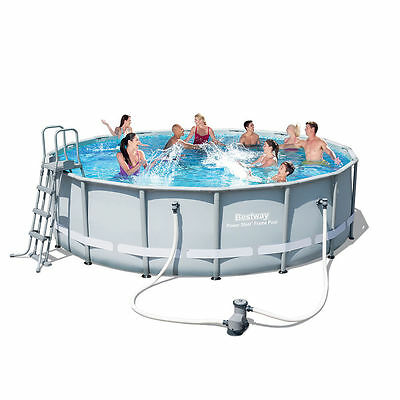 BestWay Power Steel Frame Swimming Pool Set Round 16ft x48inch Filter Pump 56451