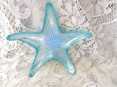 Opalescent Turquoise Glass Starfish Dish Sea Ocean Beach Coastal Caravan Cottage