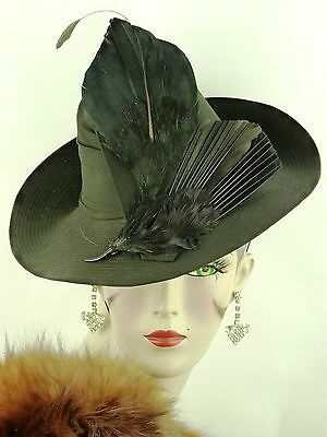 VINTAGE HAT 1940s FRENCH WWII BLACK CHIFFON STITCH STRIPED FEDORA, WING FEATHERS