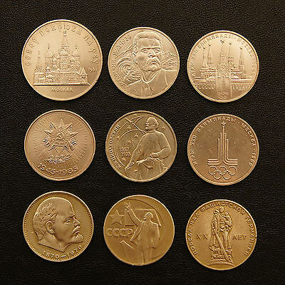 9 Cold War USSR ruble coins