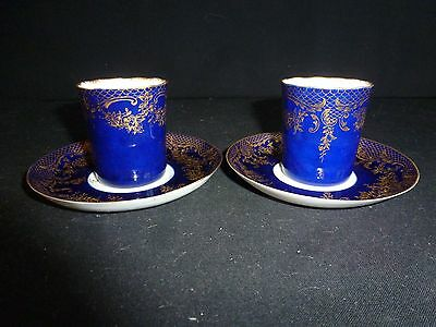Antique Staffordshire Eggshell Gilded - Demitasse - Coffee Cups & Saucers