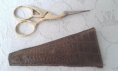 Vintage German gilded crane sewing scissors with case