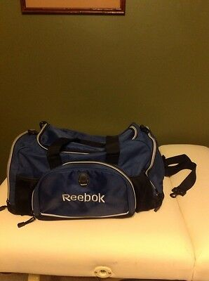 Reebok Blue Nylon Duffle Bag Portable Travel Suitcase Gym Athletic Sports Tote