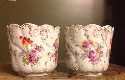 Pair Antique Dresden HAND PAINTED FLORAL PLANTER  GOLD ROSE MARK Pottery Pot Two