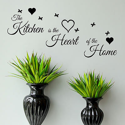 Kitchen Quote Wall Art Sticker is Heart of The Home Vinyl Decal Transfer Graphic