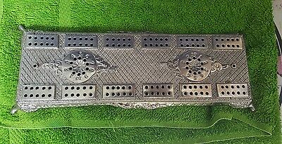 RARE Cribbage Board Metal Antique Vintage Unusual Design With Pegs Must See!