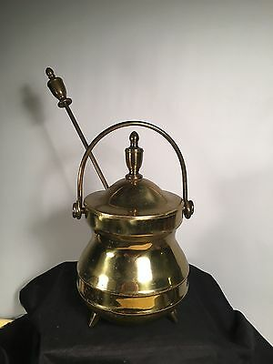 Vintage 3 Footed Solid Brass Smudge Pot Cauldron w/ Stone Fire Starter Wand