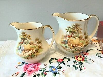 Vintage Alfred Meakin 'The Hayride'  pair of large jugs - rare