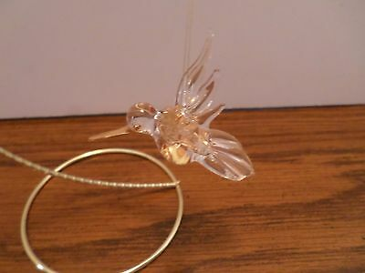 Blown Glass HUMMINGBIRD Hanging Clear w/tipped in Gold # 12