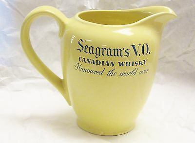 Vintage Arabia Finland Canadian Whisky Pitcher Seagram's VO Pub Jug Yellow