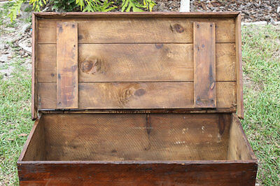 Vintage Wood Chest Trunk 1800's, Very Large, Unique & Antique, Greyhound Only