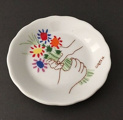 Picasso Bouquet of Peace 1958 Ceramic Pin Trinket Dish Plate Coaster FREE SHIP