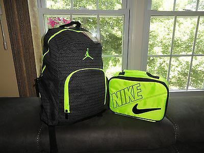 Air Jordan Backpack & Nike Lunch Box Black Bag School Gym Laptop Holder NWT