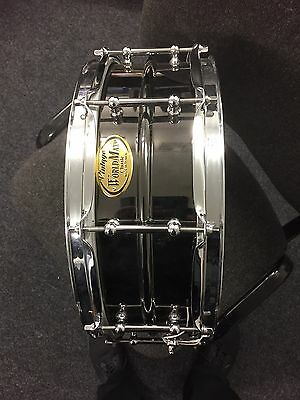 "WorldMax  14"" X 5"" Snare Drum, Black Plated Brass Shell"