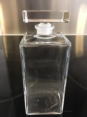 Clear Glass Square Decanter Bottle Ideal For Bathroom Bath Oil With Stopper