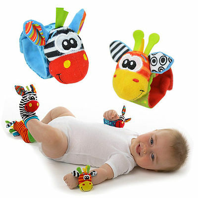 Baby Socks Wrist Bands Sensory Rattle Sounds Hands Feet Toy Infant Child