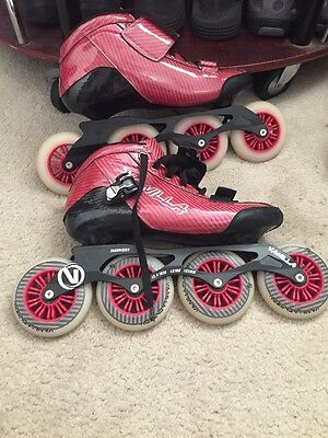 Red Vanilla Carbon Inline Speed Skates Size 11 With Giro helmet