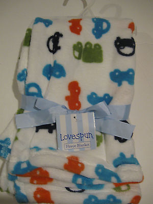 New Lovespun Cars and Trucks Fleece Baby Boy White Blanket