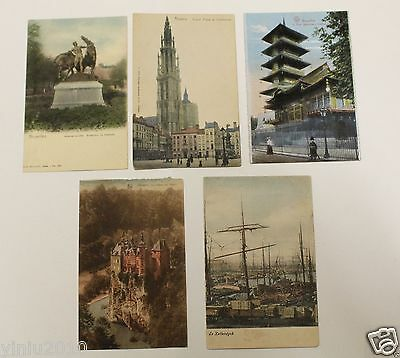 Belgian Old Postcard Colored 1910 - 1920's Landmark Attractions. 5 Pcs